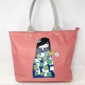 Miss Marc Pink Nylon Shopper Tote Birds